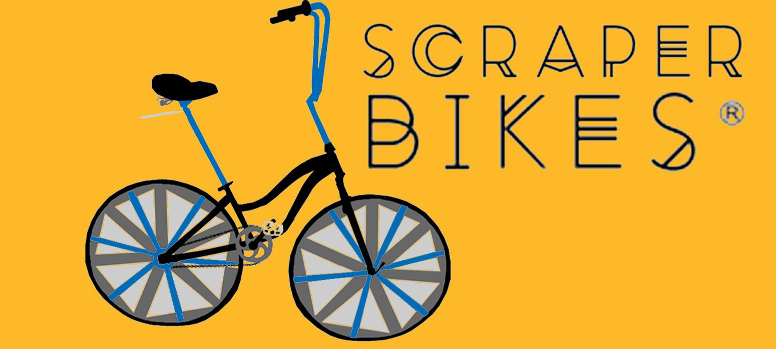 Scraper Bikes (cartoon image of custom bicycle)